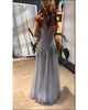 Sparkly Prom Dresses with Silver Beadings Pearls Sexy V-Neck Evening Party Gowns