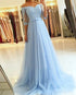 Elegant Light Blue Prom Dresses Half Sleeves Lace Appliques Tulle Long Evening Gowns with Belt