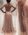 Sexy Champagne Gold Prom Dresses Sheer Long Sleeves Pearls Tulle Long Evening Gowns