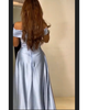 Light Blue Prom Dresses Off The Shoulder Satin Long Prom Gowns Fashion