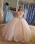 Blush Pink Lace Quinceanera Dresses Sparkly Ball Gowns Sweet 16 Dress vestidos de quinceañera Cap Sleeve