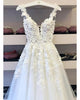 Sexy Lace Beach Wedding Dresses Appliques Bohemian A-line Tulle Bridal Wedding Gowns