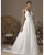 Elegant Satin Wedding Dresses V-Neckline A-line Bridal Wedding Gowns Open Back