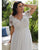 Plus Size Lace Beach Wedding Dresses Short Sleeve Sexy V-Neck A-line Long Bridal Wedding Gowns