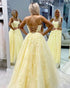 Yellow Lace Prom Dresses with Spaghetti Sexy A-line Long Tulle Prom Gowns for Party