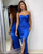 Sexy Royal Blue Prom Dresses Split Side Fashion Sweetheart Satin Mermaid Evening Gowns Long