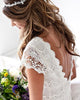 Unique Bohemian Lace Wedding Dresses Cap Sleeve Sexy Backless Beach Wedding Gowns
