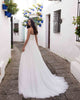 Sweetheart A-line Wedding Dresses Tulle Sexy Strapless Bridal Wedding Gowns with Belt