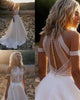 Angelaweddings Vintage Bohemian Wedding Dress Satin A-line 2020 Sheer illusion Lace Bodice Sexy Bridal Wedding Gowns with Pockets