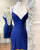 Sexy Royal Blue Satin Homecoming Dresses Cross Criss Strips Sexy Lace Homecoming Party Gowns