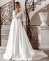 Elegant Long Sleeves Lace Wedding Dresses Satin Skirt Wedding Brides Gowns with Embroidered