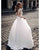 Delicate A-line Lace Wedding Dresses Satin Skirt Sheer Lace 3/4 Sleeves Brides Gowns with Buttons