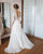 Elegant A-line Bridal Dresses Chiffon Skirt Beaded Belt Sheer Sleeves Romantic Wedding Gowns