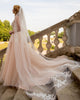 Romantic Lace Wedding Dresses Appliques  V-Neck Elegant A-line Champagne Tulle Bridal Gowns