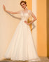 Romantic Tulle Wedding Dresses Lace Tulle Butterfly Sleeves Sheer O-Neckline A-line Bridal Gowns Outdoors