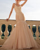 Sexy Mermaid Wedding Dresses Lace Appliques Tulle V-Neck Long Bridal Gowns Outdoors
