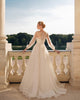 Delicate Lace Tulle Wedding Dresses Sexy See Through Bishop Sleeves V-Neck A-line Bridal Gowns Outdoors