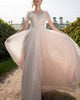 Sparkly Sequined Wedding Dress Butterfly Sleeve V-Neckline Princess A-line Silhouette Tulle Bridal Gowns Outdoors