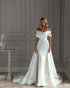 Off The Shoulder Satin Wedding Dress Sheath Silhouette Elegant Bridal Gowns Chapel Train