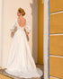 Sexy Satin Wedding Dress Open Back Modest Long Sleeve 2021 Bridal Gowns with Veils