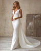Sexy Mermaid Wedding Dresses with Tail V-Neck 2021 Satin Bridal Gowns Open Back