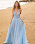 Light Sky Blue Prom Dresses with Sheer V-Neck A-line Sexy Tulle Long Prom Party Gowns 2021