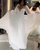 White Chiffon A-line Wedding Dresses Modest Full Sleeve 2021 Bridal Gowns Corset Back