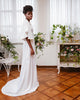 Simple Satin A-line Wedding Dresses Modest Butterfly Sleeve 2021 Bridal Gowns Backless