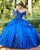 Gorgeous Royal Blue Quinceanera Dresses Sparkly Sequined Embroidered Lace Long Sleeve Sweet 16 vestidos de quinceañera