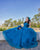 Peacock Blue Quinceanera Dresses Ball Gown Sweetheart Strapless Organza Ruffles Sweet 16 Dress