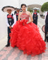 Beautiful Red Quinceanera Dresses Ball Gown Ruffles Skirt Organza Halter Neck Sweet 16 Dress