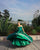 Delicate Green Satin Quinceanera Dresses Ball Gown Lace Appliqued Sweetheart Cap Sleeve Sweet 16 Dress