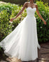 Simple Tulle Beach Wedding Dresses A-line Strapless Long Bridal Wedding Gowns