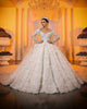 Gorgeous Lace Wedding Dress Floral Appliques Sheer Lace Sleeve Ball Gowns Tulle Skirt Bridal Dress with Flowers