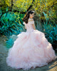 Elegant Off The Shoulder Quinceanera Dresses Ball Gown Beaded Lace Organza Ruffles Princess Sweet 16 Dress