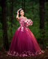 Elegant Burgundy Quinceanera Dress Ball Gown Lace Flowers Princess vestidos de quinceañera Prom Gowns