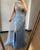 Luxury Blue V-neck Sexy Evening Gowns 2021 Diamond Bead Sleeveless Mermaid Formal Dress AW70301