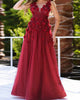 Burgundy prom dresses with 3d flowers floral sexy v-neck pageant gowns for party