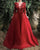 Delicate Red Prom Dresses with 3D Flowers Sexy V Neck Party Gowns for Women