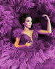 Purple Tulle Wedding Dresses Ruffles Skirt Sexy Deep V-Neckline Ball Gown Bridal Wedding Gowns 803072