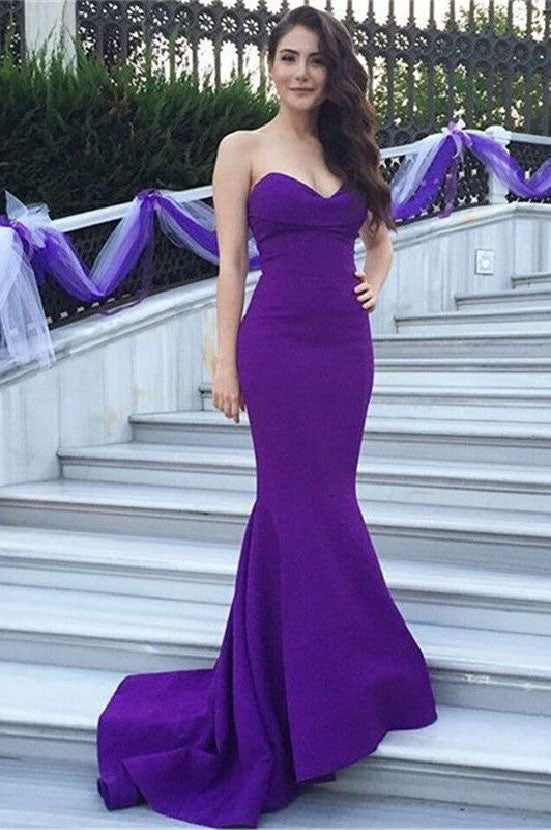 a8a17e38cc Strapless Purple Spandex Mermaid Prom Dresses Simple 2018 Long Prom Party Gowns  Court Train