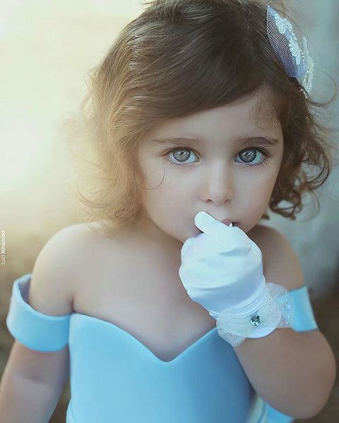78e5dc629 Lovely Light Blue Flower Girls Dresses 2018 Ball Gown with Big Bow Cap  Sleeves Long Train ...