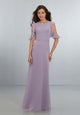 Simple Lilac Bridesmaid Dresses Bateau Sleeveless Chiffon Party Gowns 2018