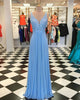 Sexy V-Neck Blue Prom Dresses with Lace Beadings Long Chiffon Party Gowns 2020