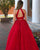 Delicate Red Lace Prom Dresses with Halter Long Tulle Two Pieces Prom Gowns 2018