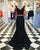 Elegant Black Lace Mermaid Prom Dresses Formal Two Pieces Prom Party Gowns 2018