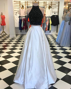 two-piece-prom-dresses-black-beading-white-satin floor-length-prom-dress prom-dresses-halter prom-gowns-with-beading party-gowns -cocktail-dresses homecoming-dresses graduation-dress evening-dresses formal-dress evening-gowns elegant fashion modest delicate beautiful