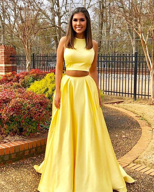 4fadda73e4 Simple Two Piece Prom Dresses 2018 New Elastic Satin Long Prom Party Gowns  Fashion