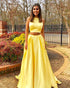 Simple Two Piece Prom Dresses 2018 New Elastic Satin Long Prom Party Gowns Fashion