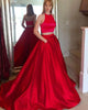 Hot Pink Two Piece Prom Dresses 2018 Fashion Elastic Satin Long Prom Party Gowns Long